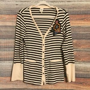 Anthropologie Tiny striped embroidered cardigan